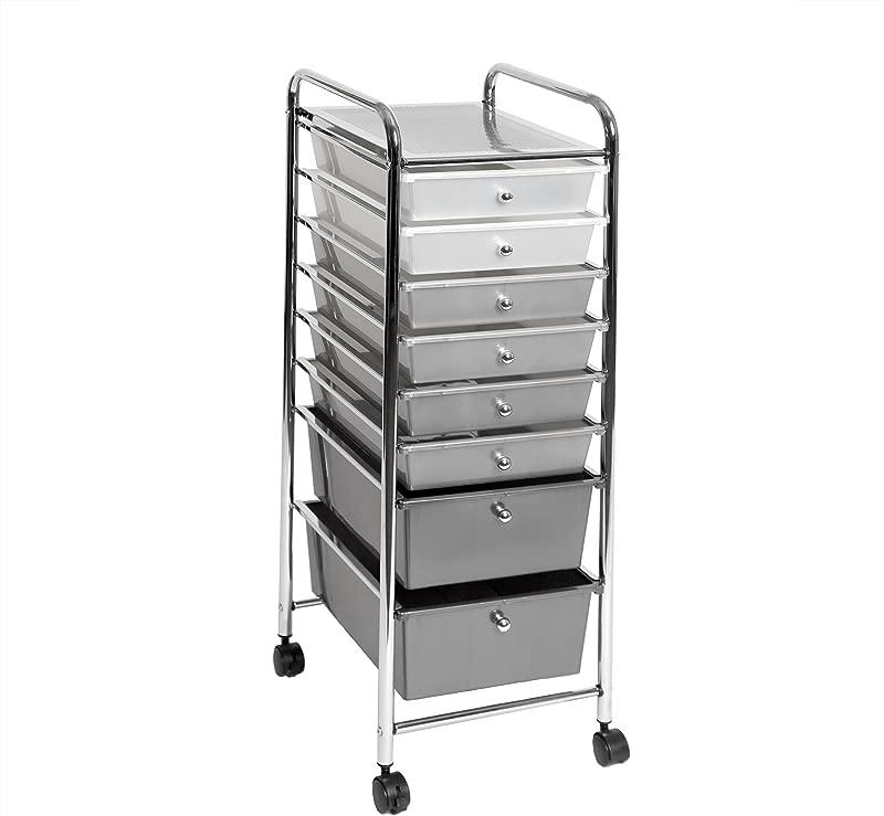 Seville Classics 8 Drawer Storage Bin Organizer Cart White Gray Black Gradient
