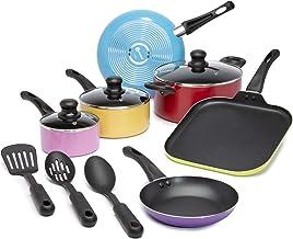 Ecolution Easy Clean Non-Stick Cookware, Dishwasher Safe Pots and Pans Set, 12 Piece, MultiColor