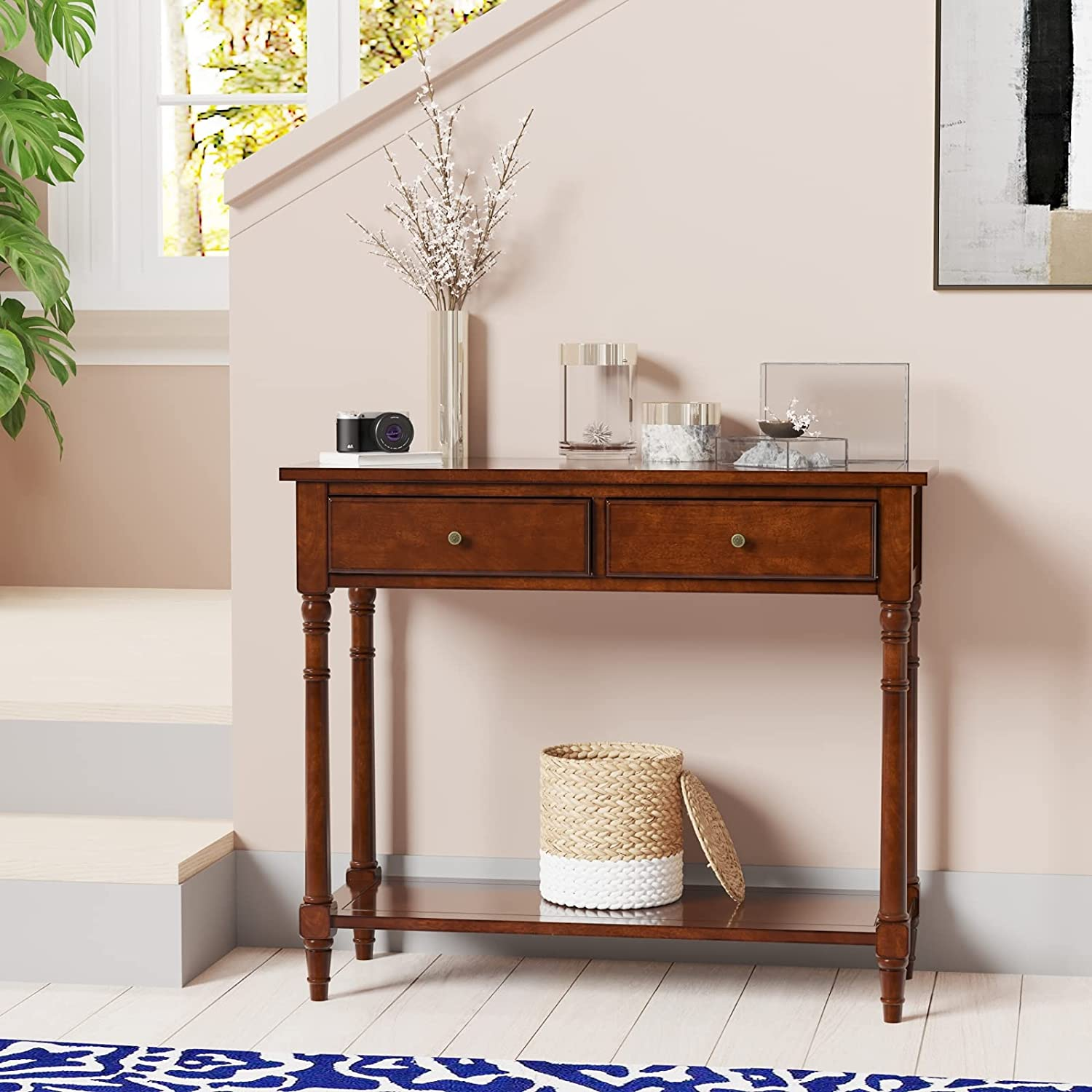 Solid Wood Sofa Table Modern Entryway Narrow Popular brand C for Console Seattle Mall
