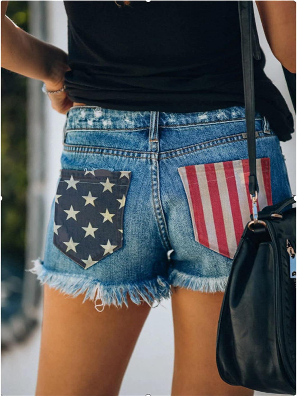 Womens Printed Star Flag Patch Pocket Denim Short Ripped Hole Fringe Raw Hem Jeans Shorts Fashion Frayed Distressed Short (Blue,X-Large)