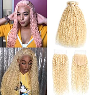 Queen Plus Hair Kinky Curly 613 Blonde Virgin Hair 3 Bundles With Lace Closure Brazilian Curly Honey Blonde Human Hair Bundles (14 16 18 with 12, curly 613 hair)