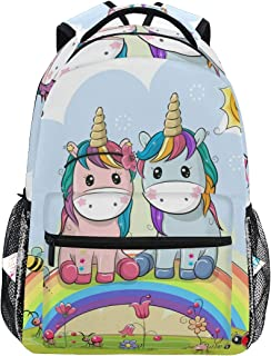 Mochila escolar para adolescentes y niños, diseño de unicornios de dibujos animados, arcoíris, sol, abeja, flor, mochila de viaje, mochila de senderismo para mujeres y hombres