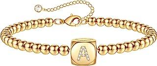 دستبند طلا زنانه دخترانه ، دستبند مهره دستباف با روکش طلا 14K دستبند طلا شخصی برای زنان هدیه طلا و جواهر دخترانه نوجوان