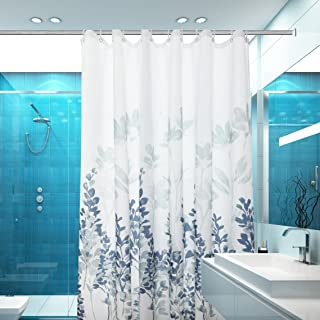 Mohap Shower Curtain 72 by 72 inch with Leaves Pattern Waterproof Dacron Fabric with 12 Curtain Hooks Blue and White