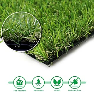 Artificial Turf Grass Lawn, 0.8inch Realistic Synthetic Grass Mat, Indoor Outdoor Garden Lawn Landscape for Pets,Fake Faux Grass Rug with Drainage Holes 6.5 FT x10 FT(65 Square FT)