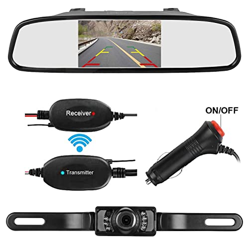 d5ab977e3d LeeKooLuu Wireless Backup Camera and Mirror Monitor Kit for Car SUV Van 9V-