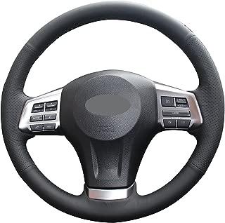 Loncky Black Genuine Leather Auto Custom steering wheel covers for 2014-2016 Subaru Forester /2013-2015 Subaru XV Crosstrek /2012-2014 Subaru Legacy /2012-2015 Subaru Impreza /2012-2014 Subaru Outback