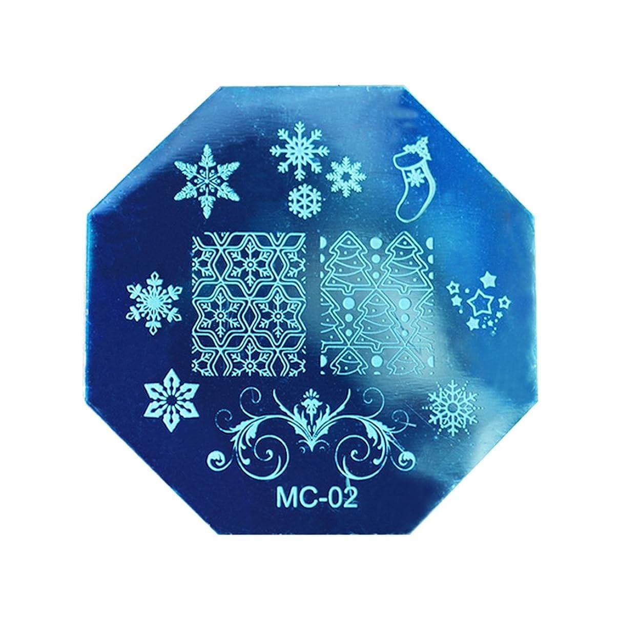 アルネ脱走かけがえのないRETYLY クリスマスDIYイメージスタンピングプレートマニキュアモデル ネイルアートプレート(MC-02)