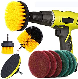 QUIENKITCH 10 Piece Drill Brush Attachments Set, Power Drill Scrub Brush Attachments, Drill Scrub Pads for Grout, Tiles, S...