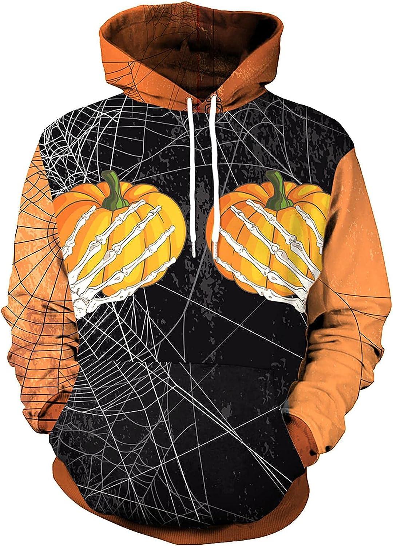 Bravetoshop Men's 3D Printed Hooded Sweatshirt Halloween Novelty Colorful Graphic Pockets Pullover Sweatshirts
