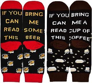 PUTUO, If You Can Read This Bring Me Wine Tea Beer Coffee Socks, Novelty Funny Socks Mens Cotton Socks Fun Birthday Present Christmas Socks, 1/2 Pairs