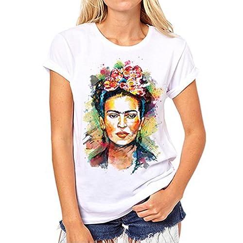 d1b6b528 ZMLIA Womens Frida Kahlo Mexican Personalized Artist Short Sleeve T Shirt