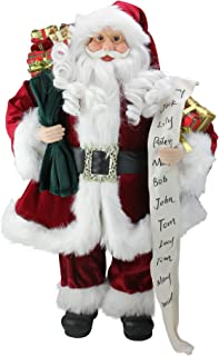 Northlight Standing Santa Claus with Naughty or Nice List and Bag of Presents Christmas Figure, 24