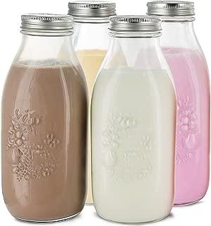 Estilo Dairy Reusable Glass Milk Bottles with Metal Lids (Set of 4), 33.8 oz, Clear