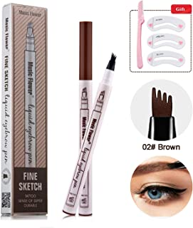 Eyebrow Pencil microblade pen Microblading tattoo eyebrow Pen with a Micro-Fork Tip Applicator Creates Natural Looking Brows Effortlessly and Stays on All Day (Brown)