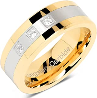 100S JEWELRY Tungsten Rings for Men Gold Silver Crystal Wedding Bands Two Tone 3 CZ Stone Promise Marriage Size 8-16