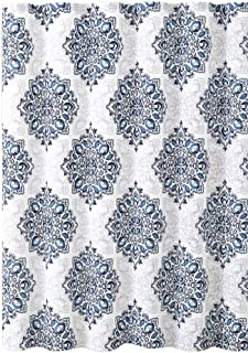 VCNY Home Tranquility Navy Blue White Fabric Shower Curtain: Floral Medallion Damask Design