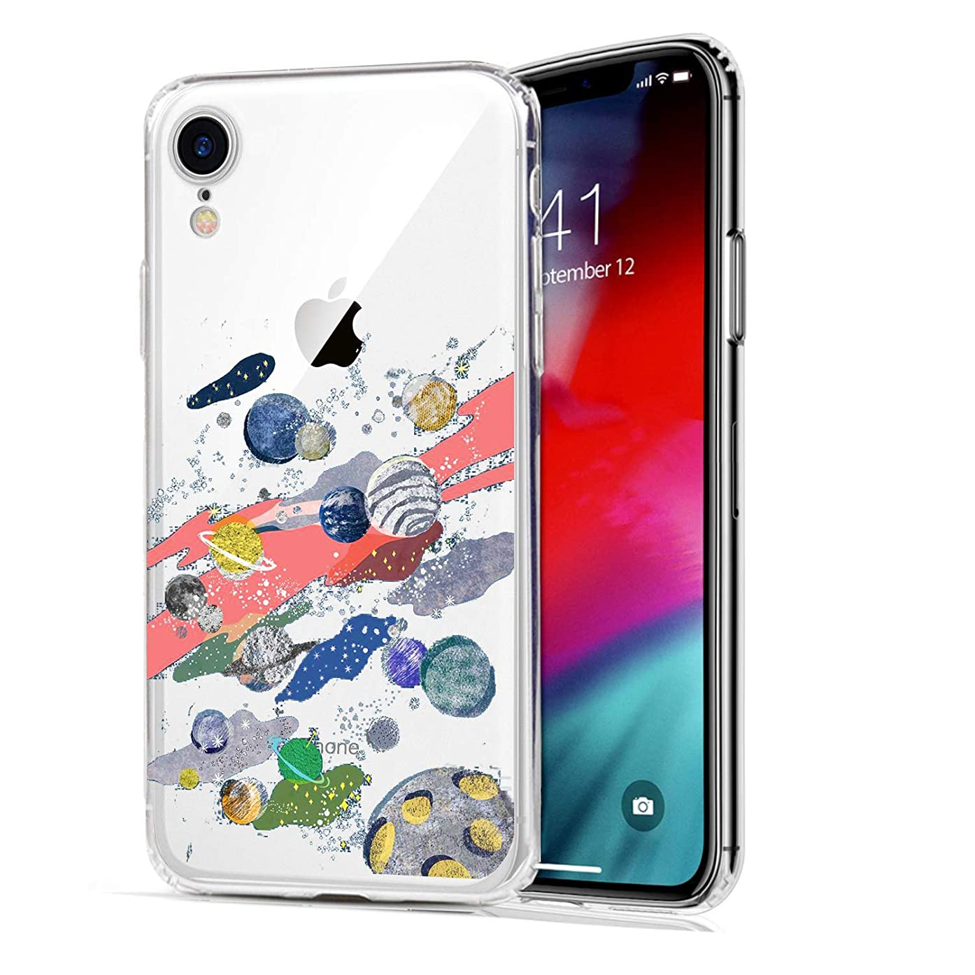 HUIYCUU Case Compatible with iPhone XR Case,Cool Colorful Stars Design Slim Fit Soft TPU Protective Funny Cute Pattern Shockproof Thin Clear Novelty Bumper Back Cover, Planets