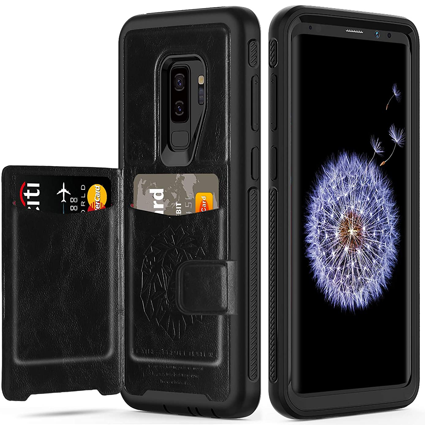Galaxy S9 Plus Case with Card Holders,SXTech (Leather Cover Series) Slim Yet Protective with Kickstand.Built-In Magnetic Backing Wallet Case Fit for Samsung Galaxy S9 Plus 6.2 Inch (2018) -All Black