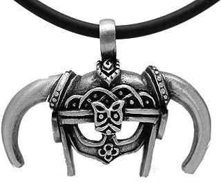 Exoticdream Medieval Viking Dovahkiin Skyrim Iron Helmet Barbarian Warrior Pewter Pendant + 18