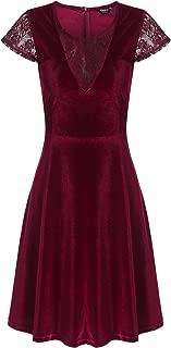 Women's Elegant V Neck Lace Sleeve Velvet Cocktail Swing Dress