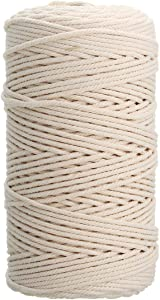 Gold Cloud 100% Natural Cotton Twisted Rope 1/25, 1/12, 1/8 inch Width 328, 656 Feet Length (1mm(1/25 Inch) 328 Feet)