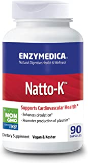 Enzymedica, Natto-K, Enzyme Supplement to Support Cardiovascular Health, Vegan, Kosher, 90 Capsules (90 Servings)