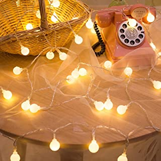 YMing Globe String Christmas Lights, 49Ft 100 LED 8 Modes Waterproof Indoor String Lights, Decorative Fairy Light for Patio Home Wedding Party Christmas, 29V Safe Voltage&UL588 Approved(Warm White)