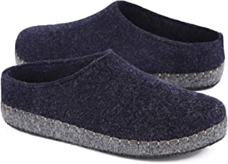 HomeTop Women's Comfy Faux Wool Felt House Slippers Closed Back Fleece Loafer Style Shoes with Anti-Slip Rubber Sole