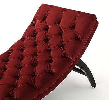 Christopher Knight Home Garret Tufted Velvet Chaise Lounge, Garnet / Dark Brown