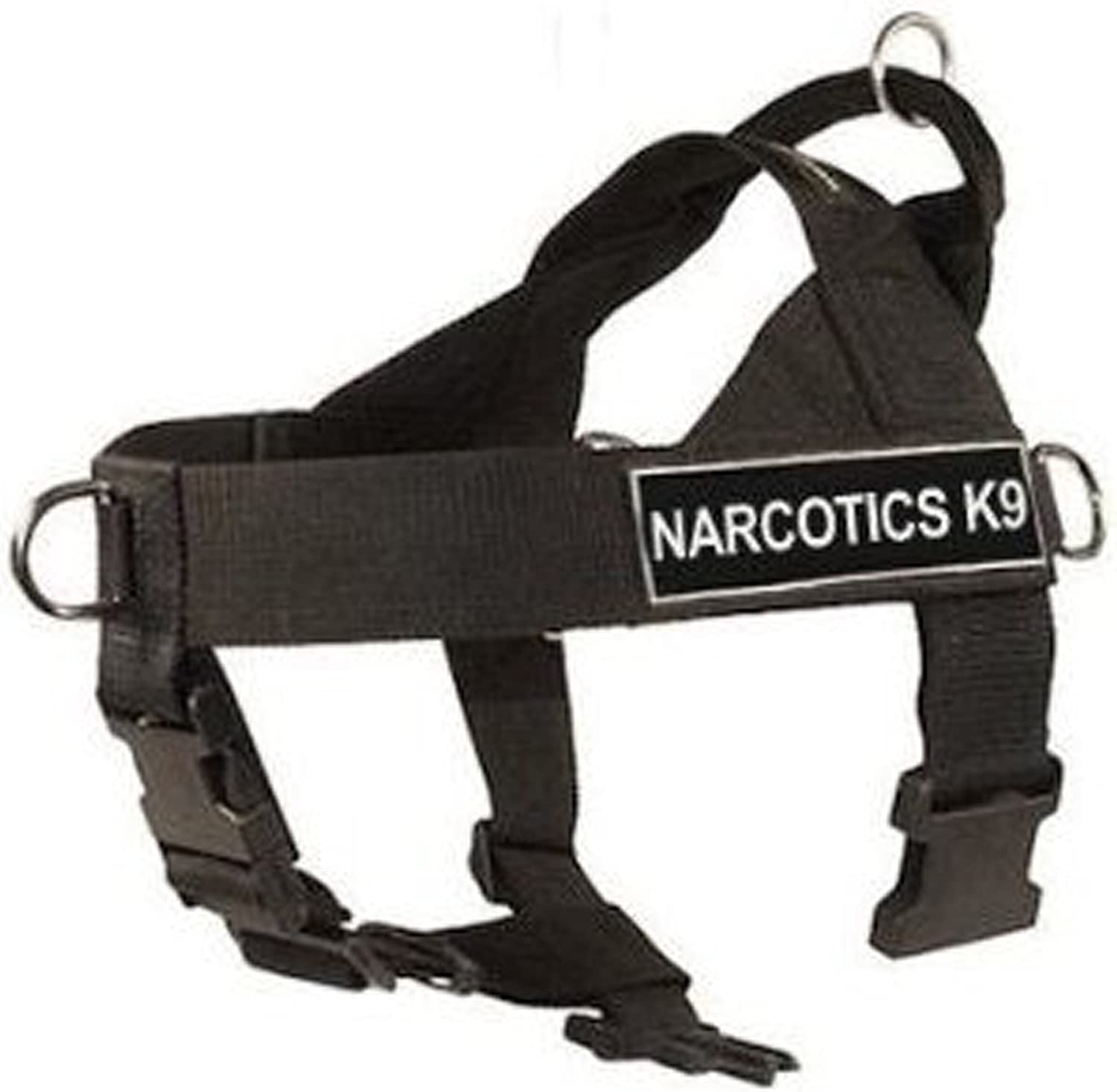 DT Universal No Pull Dog Harness, Narcotics K9, Black, XLarge  Fits Girth Size  91cm to 119cm