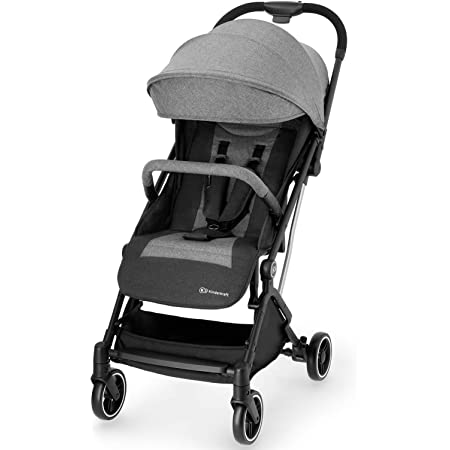 Ajustable Hood Footrest Kinderkraft Lightweight Stroller Grande City Black with Accessories Baby Buggy Quick Folding Lying Position Pushchair Footmuff from Birth to 3 Years