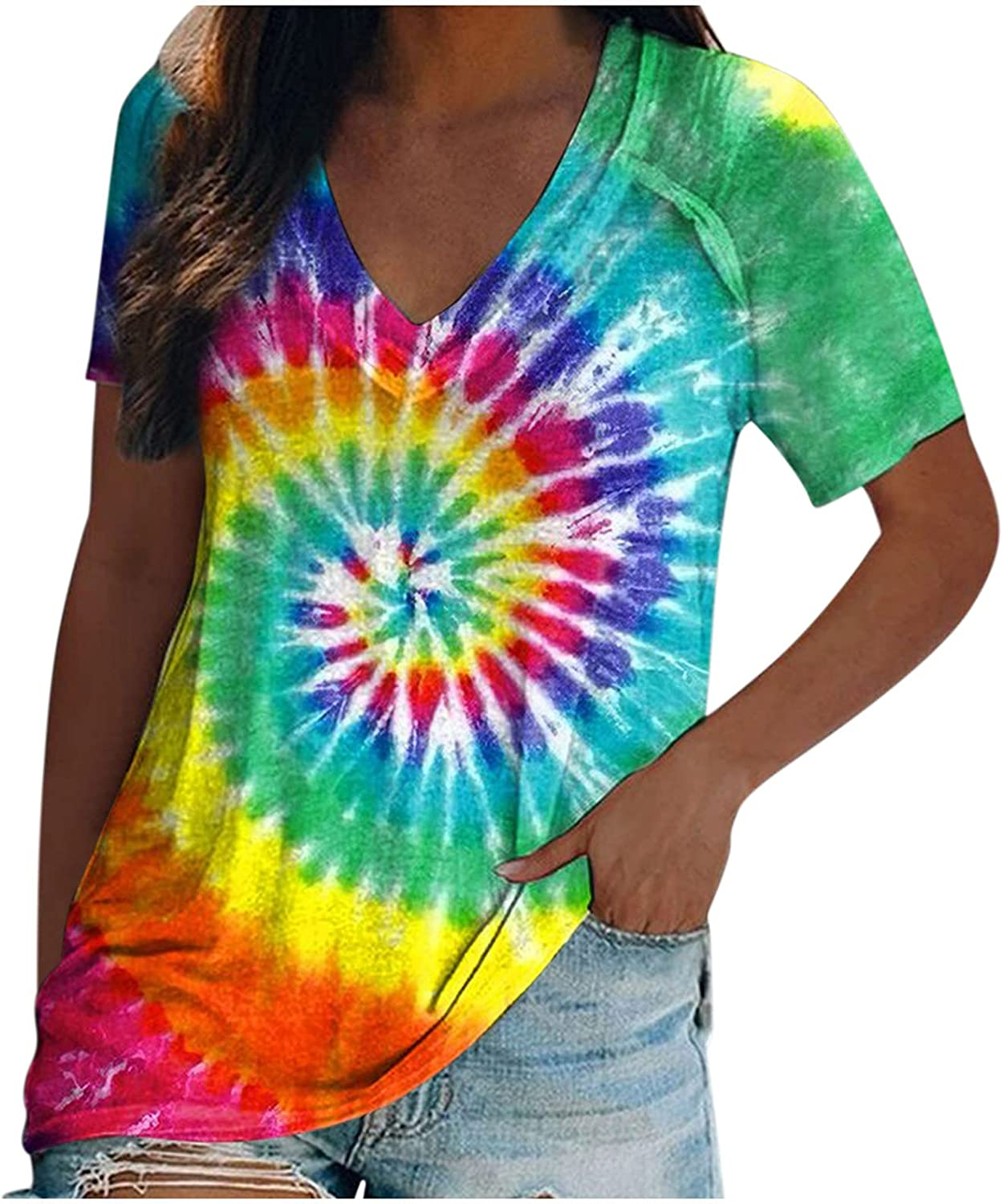Forwelly Women's Tie Dye T Shirt 2021 Fashion Summer Tee Casual Loose Short Sleeve V Neck Tunic Top Blouse