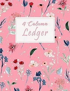 4 Column Ledger: Floral Wild Garden Pink Bookkeeping and Accounting Ledger Notebook, General Columnar Ruled Ledger Book, R...