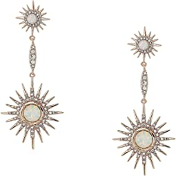 Double Starburst Drop Linear Earrings White Opal