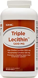 GNC Triple Lecithin 1200mg, 180 Softgels, Promotes a Healthy Heart, Liver and Nervous System