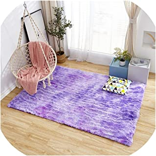 Magic day Mottled Tie Dyed Gradient Carpet Living Room Long Hair Washable Mat Encryption Thickening Rug Soft and Comfortable Blanket,4,100Cm X 200Cm