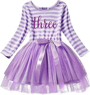 Baby Girl Princess Long Sleeve Shinny Stripe Crown Printed 1st/2nd/3rd Birthday Cake Smash Tulle Tutu Skirt Dress 1-3 Y