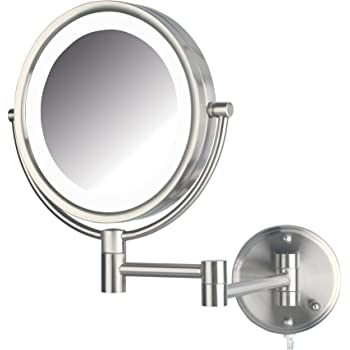 Amazon Com Jerdon Hl88nld 8 5 Led Lighted Direct Wire Makeup Mirror With 8x Magnification Nickel Finish Beauty