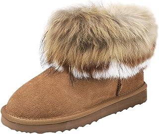 449d2545 Shenduo Zapatos Invierno - Botas de Nieve Calientes de Piel con Pelo  Forradas con Suela Antideslizante