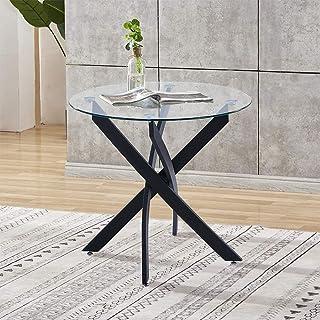 GOLDFAN Table de salle à manger ronde moderne en verre transparent avec pieds en métal pour salle à manger ou cuisine Noir...