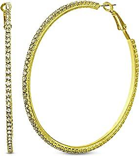 Steve Madden Large Yellow Rhinestone Hoop Earrings for Women