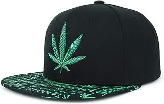 Rasta Marijuana Leaf Weed 3D Embroidered Flat Bill Snapback Cap