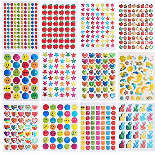 Coopay 7060 Pieces Teacher Stickers for Kids, Reward Stickers Mega Variety Pack, Incentive Stickers for Teacher Supplies Classroom Supplies Including Heart, Smiley Face, Star, Moon, Apple