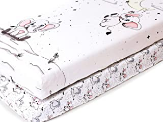 """Fitted Crib Sheets Set, 2 Pack 100% Cotton for Baby Boys Girls 28""""x52"""" - Hypoallergenic Breathable Crib Mattress Topper - Baby Elephant Moon Series"""