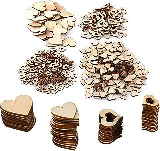 DRERIO 500pcs Coeur en Bois Petit 10mm, 20mm, 30mm, 40mm Coeur en Bois Creux Embellissement Coeur en Bois pour Nature Deco...