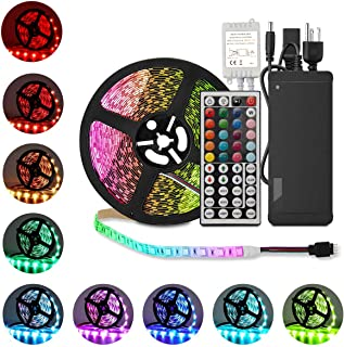 Alenbrathy 16.4ft 12V Flexible LED Light Strip, LED Tape, RGB 300 Units SMD 5050 LEDs, Waterproof, LED Ribbon, LED Light Strips, for Home/Kitchen/Car/Bar, Power Adapter Included