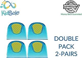 2 Pair - 4 Heel Cups - KidSole Slim Lightweight Gel Heel Cups For Kid's With Sensitive Heels, Heel Spurs, Plantar Fasciitis, or Ankle Pain