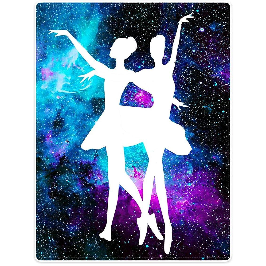 まで味方公毛布ソファベッドスロー軽量Cozy PlushバレエBeautyダンスシルエットパープルGalaxy Nebula 50