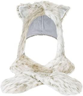 Winter Warm Plush Faux Fur Animal Paws Hat Hoods Gloves Scarf